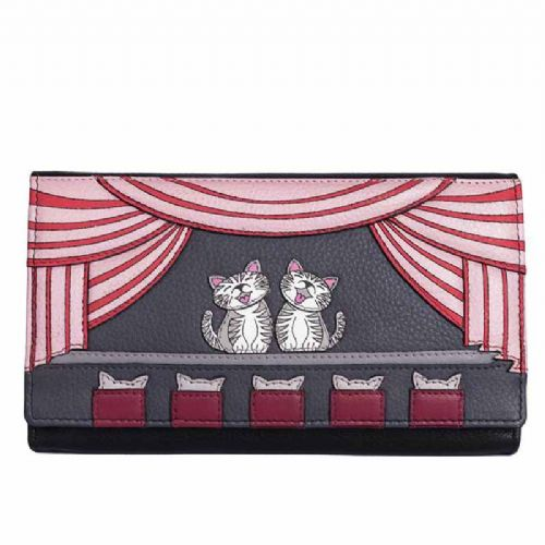 Mala Leather Cats the Meowsical Flap Over Purse with RFID protection